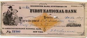 Rochester, Ind. 1877 bank draft; Revenue Stamped Paper