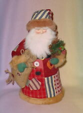 Old Fashion Santa In Red And Green Patchwork Robe * 14 Inch *