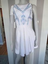 karen millen WHITE BLUE SLEVELESS dress ,SZ 4,COTTON  J
