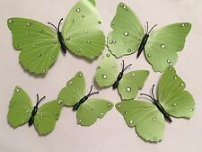 6 3D Lime Green Butterflies room deco stickers hand decorated Diamanté