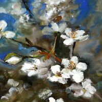 Spring Cherry tree White Blooming Sakura Still Life oil painting 7 x 10in