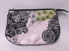 Ladies Black Pink Floral Flower Funky Silk Style Cosmetic Make Up Bag #16E110