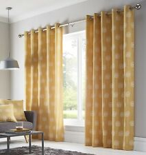 """Dandelion Fully Lined Curtains Eyelet Ring Top 90"""" x 90"""" 229cm Ochre Yellow New"""
