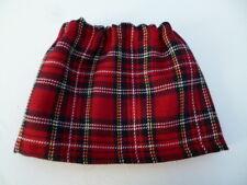 BJB Vintage Sasha dolls clothes, Red tartan plaid mini skirt