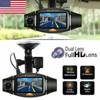 Car DVR Dash Cam Dual Lens GPS Camera HD Video Recorder G-Sensor w/ Night Vision
