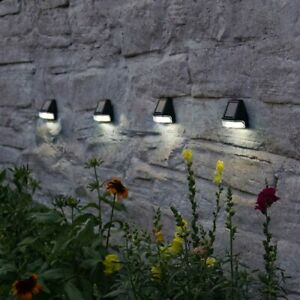 4 Pack   Black Solar Power Super Bright Fence Wall Post Lights   Walkway Garden