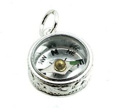 STERLING SILVER SCROLL COMPASS FOB CHARM