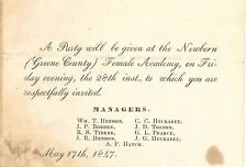 1847 Newbern Alabama Greene County Alabama Female Academy Invitation, original