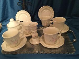 Tea service set pfaltzgraff tea rose tea cup saucer sugar plus candle stick
