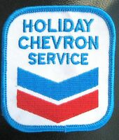 CHEVRON GAS OIL EMBROIDERED PATCH HOLIDAY SERVICE UNIFORM ADVERTISING 2 1/2 x 3