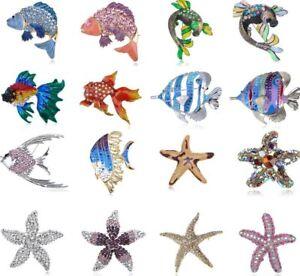 Women Shiny Crystal Rhinestone Carp Fish Starfish Star Jewelry Pin Brooch Gift