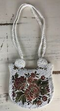 Floral Tapestry Vintage Purse White Micro Beaded Evening Bag Gorgeous ~Very Nice