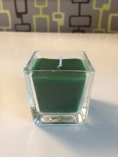 Brand new square glass candle, modern design, green Christmas cedar scent wax