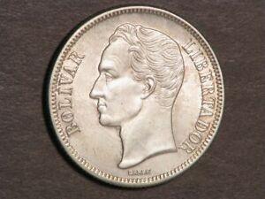 VENEZUELA 1945 2 Bolivares Silver Unc