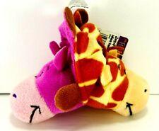 "Lot of 2 Flip A Zoo Geo Giraffe Ava Hippo Plus Wolf Dog Plush Stuffed Animals 6"""