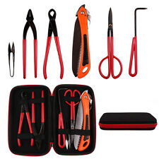 6Pcs Bonsai Tools Case Kit Cutter Scissor Carbon Steel Garden Plant Trimming Set