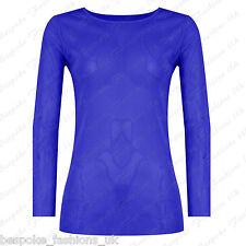 Ladies Women's Long Sleeve Sheer Mesh See Through Plain Top T-shirt Plus 8-20 Royal Blue One Size 8-14