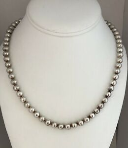 """Estate Italy 7mm Sterling silver 925 18"""" Ball Bead  necklace 36.85g"""