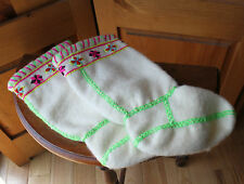 Handmade Wool White Embroidered Mukluk Boot Lining Childrens