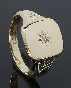 9 Carat Yellow Gold Gents Diamond Set Barrel Signet Ring Size Q (70.21.061)