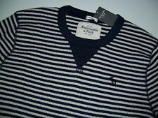 NWT Abercrombie & Fitch Men's Navy blue white striped waffle knit LS t shirt