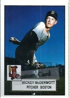 MICKEY McDERMOTT BOSTON RED SOX 1952 STYLE CUSTOM MADE BASEBALL CARD BLANK BACK