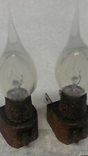 Set Of 2 Country Basic On/Off Night Light W/ Primitive 4Watt Clear Silicone Bulb