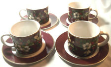 Sakura SPLENDOR Christmas Holiday Stoneware by Excell: 4 Cups & Saucers: VGC: NR