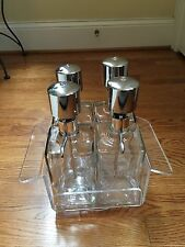 Barware Clear glass Scotch, Gin & Vodka Decanters (4) Lucite Lazy Susan Holder