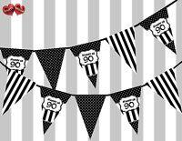Chic Black Happy 90th Birthday Vintage Polka Dots Theme Bunting Banner Party UK