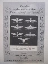 11/1945 PUB FAIREY AVIATION RAF RCAF RNAF FREE FRENCH AIR FORCE VICTORY WWII AD