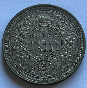 INDIA 1944-L 1/2 RUPEE (LAHORE) DOT SILVER COIN VF/XF KM28.1