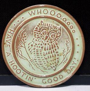 Frankoma Pottery Green Trivet Tea Tile Prairie Green Owl Have A Hootin' Good Day