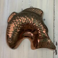 "FISH MOLD - Vtg Solid Copper Koi Jello Cake Pan, Korea, 8"" x 9"" - MUST SEE!"