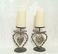 Set of 2 Heart Candle Stick Holder Shabby Chic Metal Wedding Vintage Christmas