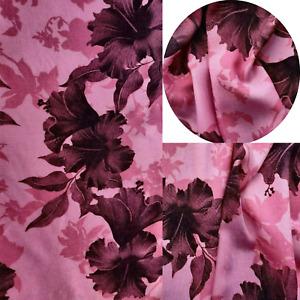 Printed,Viscose,Dress Fabric, Skirts Blouse, New Design Fuchsia Hibiscos floral
