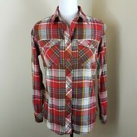 Duluth Trading Co Button Up Front Plaid Shirt Top Blouse Women's Size XS