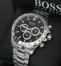 NEW GENUINE HUGO BOSS 1512965 MENS STAINLESS STEEL BLACK DIAL WATCH UK
