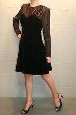 S~M Black Velvet Metallic Flocked Chiffon Vtg 80s Zum Zum Party Cocktail Dress