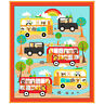 "Children Baby Animals Bus Car Scenic Cotton Fabric QT On The Road 35"" Panel"