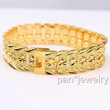 """9"""" Real 24K Yellow Gold Filled Mens Womens Bracelet Solid Chain Jewelry"""