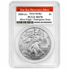 Presale - 2020 (S) $1 American Silver Eagle Pcgs Ms70 Emergency Issue Fs San Fra