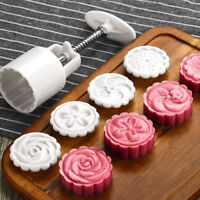 4 Stamps Round Cookie Cutter Hand pressing Pastry Moon Cake Mold Baking Gadget