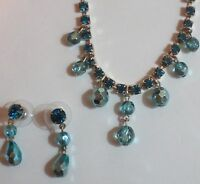 Silver Tone Blue Crystal Fashion Jewelry Set Necklace Earings