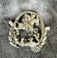 Vintage St George and the Dragon silvertone Brooch
