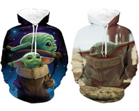Star Wars The Mandalorian Baby Yoda Printed Cosplay Hoodie Pullover Coat Gift