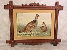 Antique Alexander Pope Jr Chromolithograph of Pinnated Grouse Early 1900s Framed