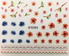 Nail Art 3D Decal Stickers Red & Blue Flowers E352