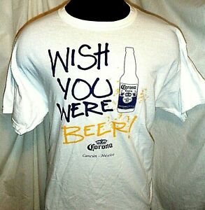 Vintage Licensed Corona Extra Wish You Were Beer Shirt XL White Cancun Mexico