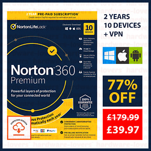 ✅ 2 YEARS Norton 360 Premium 2021 Licence + VPN | 10 Devices | 75GB Storage